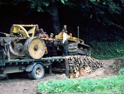 Unloading plough at Craigvinean Forest